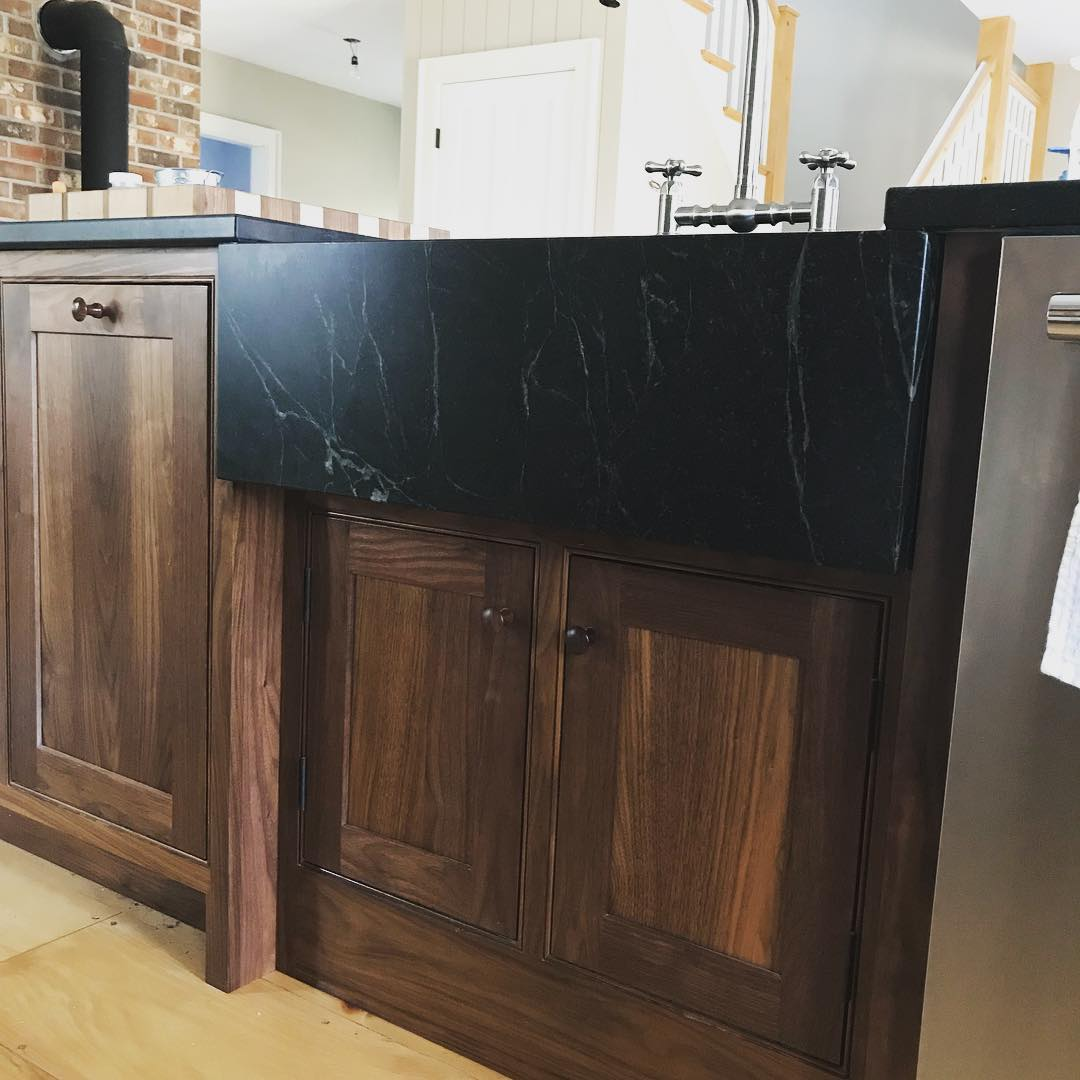 Soapstone Kitchen Sink - Wood and Square